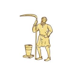 Medieval farmer holding scythe etching vector