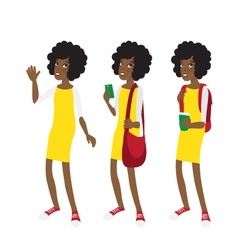 Young afro american student girl in yellow dress vector