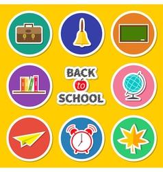 back to school round set icon vector image