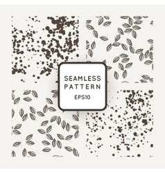 Set of seamless patterns with leaves flying vector