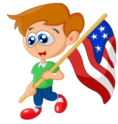 Cartoon little kid holding american flag vector