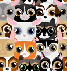Seamless pattern with little cute and funny pets vector