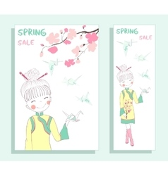 Spring sale banner with cute girl vector