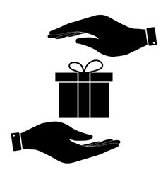 Gift in hand icon vector