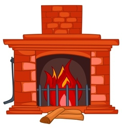 Cartoon home fireplace vector