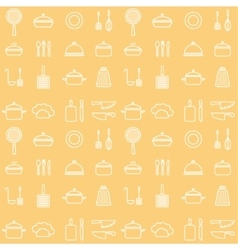 Seamless line kitchen icons yellow cookware vector