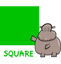 Square shape with cartoon hippo vector