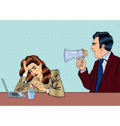 Angry boss screaming in megaphone on the woman vector