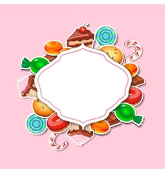 Background with colorful sticker candy sweets vector