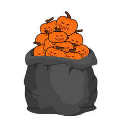 Bag scary pumpkins for halloween full sack of vector