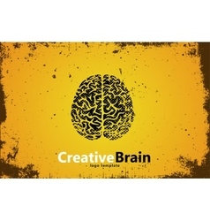 Brain logo design creative brain grunge style vector
