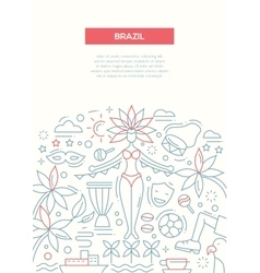 Brazil- line design brochure poster template A4 vector image vector image