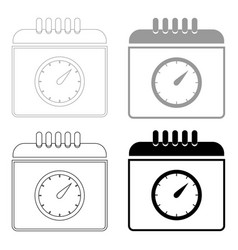 Calendar with a clock the black and grey color vector