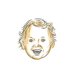 Caucasian toddler smiling drawing vector