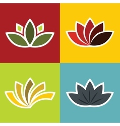 Color elements ornament with flowers on vector image