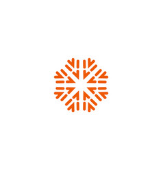 Flower linear logo orange line art sun vector