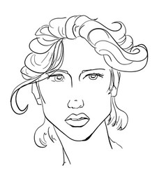 hand-drawn graphics fashion portrait with vector image