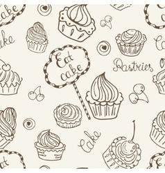 Hand drawn seamless with cake vector image