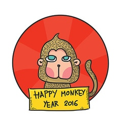 Happy monkey year 2016 hand drawn character vector