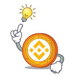 Have an idea binance coin mascot catoon vector