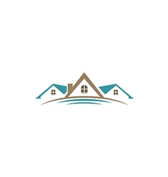 house roof construction business logo 2 vector image vector image