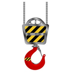 industrial red crane hook over white background vector image