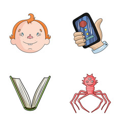 Man education and other web icon in cartoon style vector