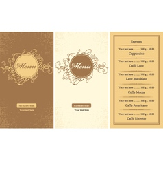 menus for a cafe vector image vector image