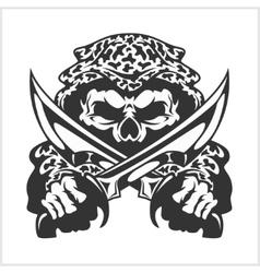 Military skull - chevron with daggers vector