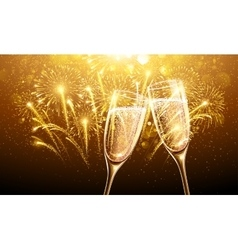 New Year fireworks and champagne vector image vector image