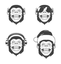 Set of monkey heads vector