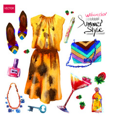 set of trendy look watercolor vector image