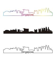 Singapore skyline linear style with rainbow vector image