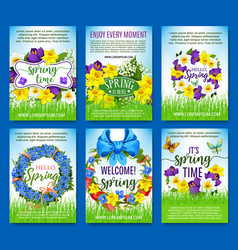 Spring flowers holiday greeting posters set vector