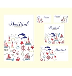 Template corporate identity with nautical elements vector
