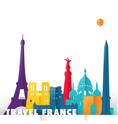 travel france paper cut world monuments vector image vector image