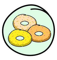 A donut assortment on round green background vector