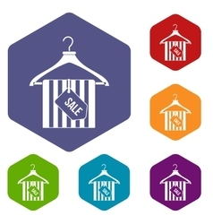 Hanger with sale tag icons set vector image