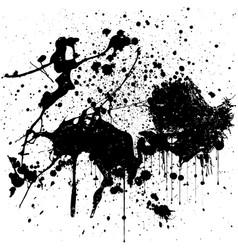 Black ink splatter background isolated on white vector