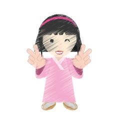 Drawing japanese girl performer vector