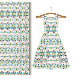 Dress fabric with green geometric mosaic vector