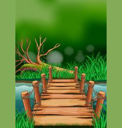 Scene with wooden bridge across the river vector