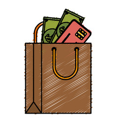 shopping bag paper with credit card and money vector image