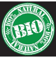100 percent natural bio grunge stamp vector