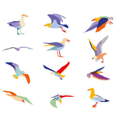 Set of colorful silhouettes of seagulls vector