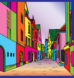 Funky journey pedestrian street in european city vector