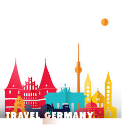 Travel germany paper cut world monuments vector