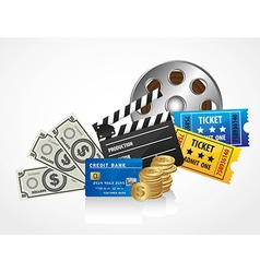 Background of movies contains entries coins bills vector