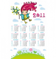 2011 calendar with sweet fairy vector image