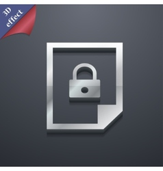 File locked icon symbol 3d style trendy modern vector